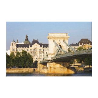 Chain Bridge and Gresham Palace in Budapest Canvas Print