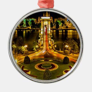 chain bridge budapest united states hungary bridge round metal christmas ornament
