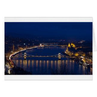 Chain bridge Hungary Budapest at night Card