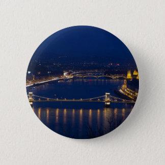 Chain bridge Hungary Budapest at night Pinback Button