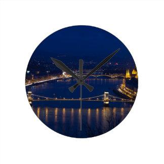 Chain bridge Hungary Budapest at night Round Clock