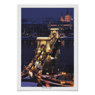 Chain Bridge in blue hour Poster