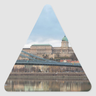 Chain Bridge with Buda Castle Hungary Budapest Triangle Sticker