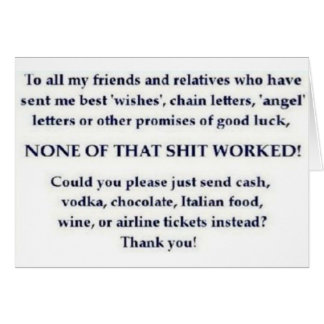 CHAIN LETTER CARD