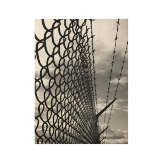 Chain Link Fence Art Photograph in Black & White Wood Poster