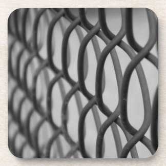chain link fence drink coaster