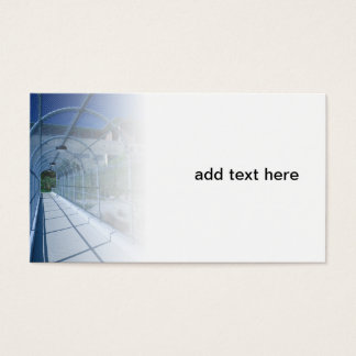 chain link fence over a pedestrian walkway business card