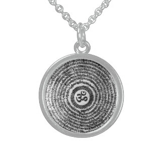 chain, om mani padme hum, mantra round pendant necklace