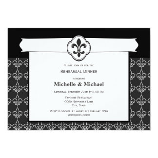 Chain Pattern Fleur de Lis Event Black and White Card