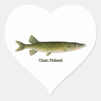 Chain Pickerel Illustration Heart Sticker