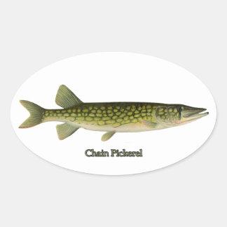 Chain Pickerel Illustration Oval Sticker