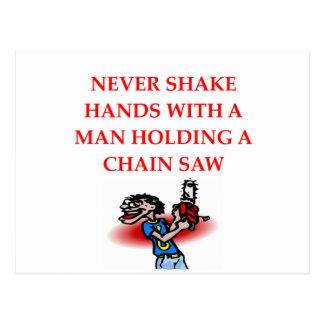 chain saw postcard