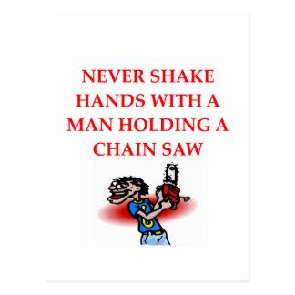 chain saw post card