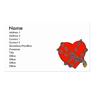 chained and locked heart business card templates