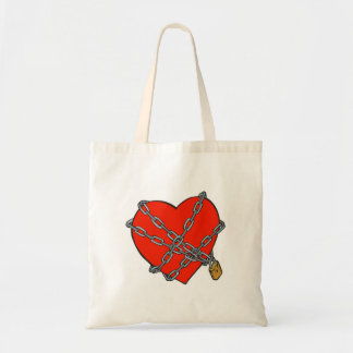 chained and locked heart canvas bag