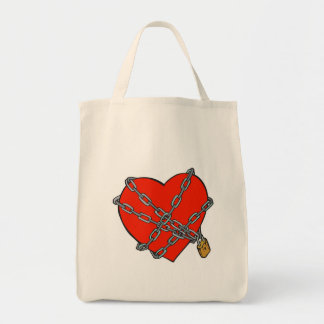 chained and locked heart canvas bags