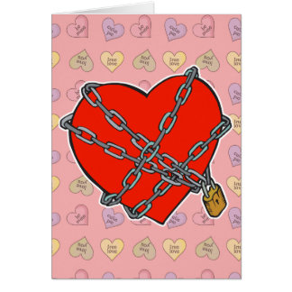 chained and locked heart greeting card