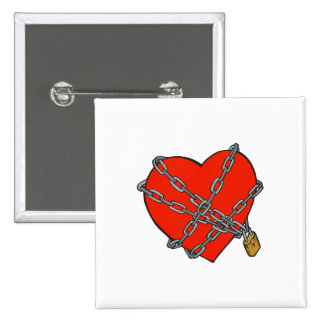 chained and locked heart pin