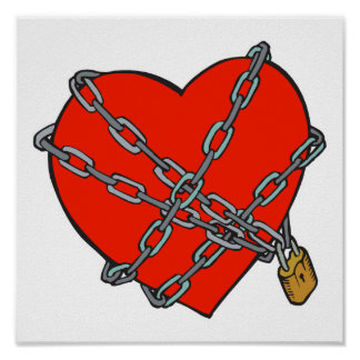 chained and locked heart posters