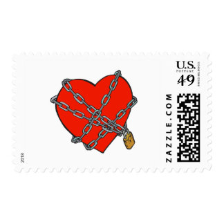 chained and locked heart stamp