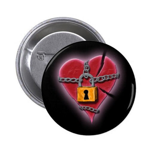 Chained & Broken Heart Badge Button