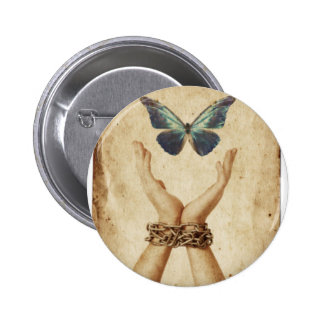 Chained Hand With Butterfly Hovering Above Pinback Button