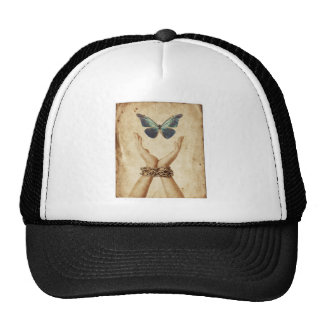 Chained Hand With Butterfly Hovering Above Trucker Hat