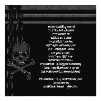 "Chained Skull Industrial Goth Invitations 5.25"" Square Invitation Card"