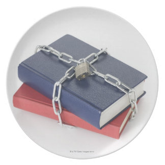 Chained stack of books plate