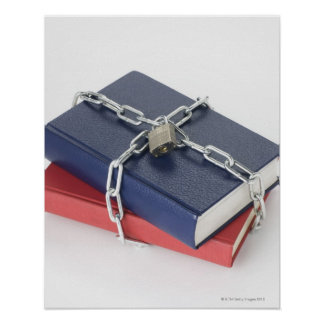 Chained stack of books poster