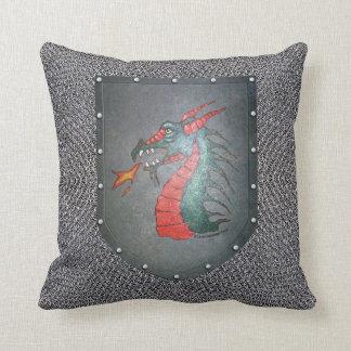 Chainmail Metal Shield Dragon Throw Pillow