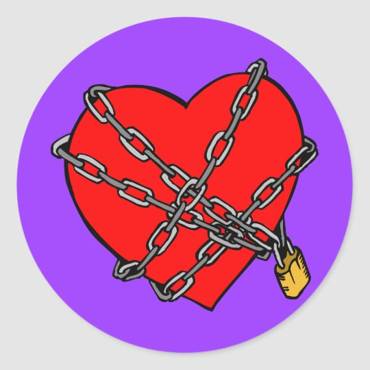 Chains and heart classic round sticker