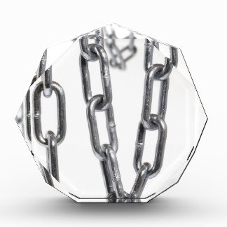 Chains hanging in front of white background award