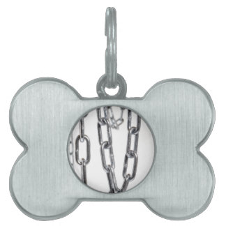 Chains hanging in front of white background pet name tag