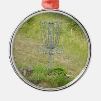 Chains of A Disc Golf Basket Metal Ornament