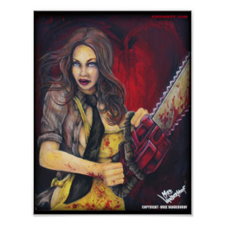 Chainsaw Chick - Color Print