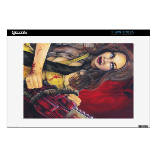 """Chainsaw Chick Lap Top Skin Decals For 13"""" Laptops"""