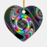 Chainsaw - Fractal Double-Sided Heart Ceramic Christmas Ornament