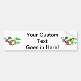 Chainsaw Holding Kid with Bonsai Graphic Image Bumper Sticker