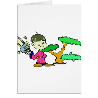 Chainsaw Holding Kid with Bonsai Graphic Image Card