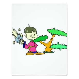 Chainsaw Holding Kid with Bonsai Graphic Image Personalized Announcement