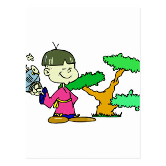 Chainsaw Holding Kid with Bonsai Graphic Image Postcard