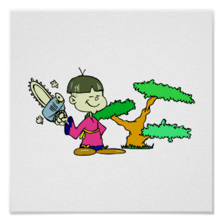 Chainsaw Holding Kid with Bonsai Graphic Image Print