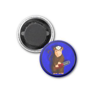 Chainsaw Monkey 1 Inch Round Magnet