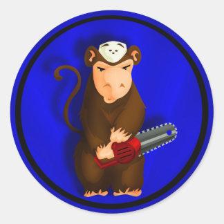 Chainsaw Monkey Classic Round Sticker