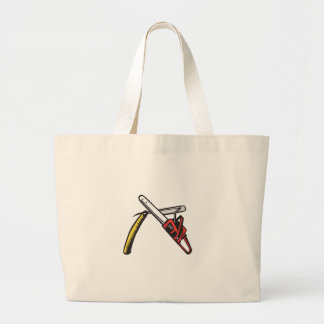 Chainsaw Straight Razor Crossed Woodcut Large Tote Bag