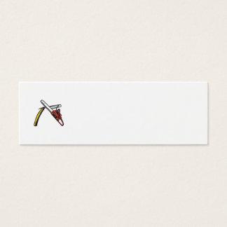 Chainsaw Straight Razor Crossed Woodcut Mini Business Card