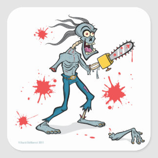 Chainsaw Zombie Square Sticker