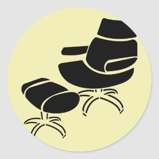 Chair and Footstool Set Round Stickers