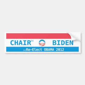 Chair + Biden OBAMA 2012 Chair for president Bumper Stickers